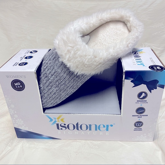 Isotoner Grey Knit and White Fuzzy Slippers 7.5/8